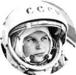 Valentina Tereshkova in her space suit.